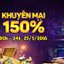 Sự kiện ionline khuyến mãi ngày vàng 150%