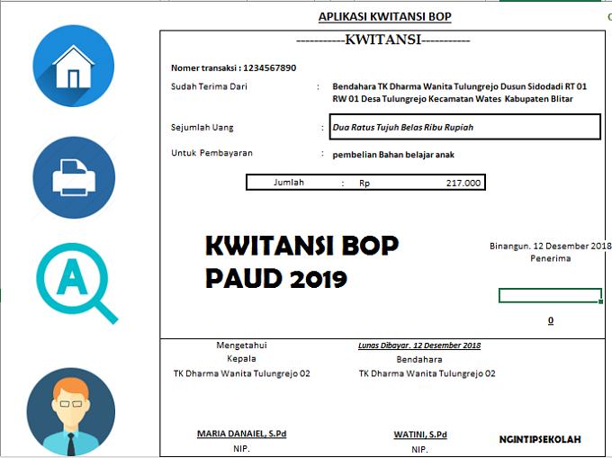 Aplikasi Cetak Kwitansi Bop Paud 2019 Pendidikan Indonesia
