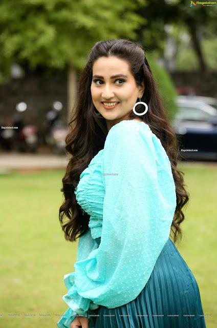 Latest Pics of Telugu Anchor Manjusha in Aqua Blue Dress Actress Trend