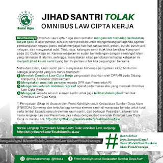 Jihad Santri Tolak Omnibus Law