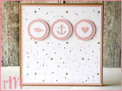 Stampin' Up! rosa Mädchen Kulmbach: Taufkarte Glaube Hoffnung Liebe mit Framelits Stickmuster, Clearlits Glückswal, Kreisstanze und Designerpapier