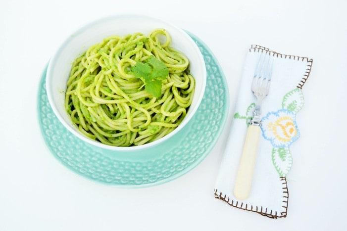 Quick Green Spaghetti Sauce mixed through spaghetti