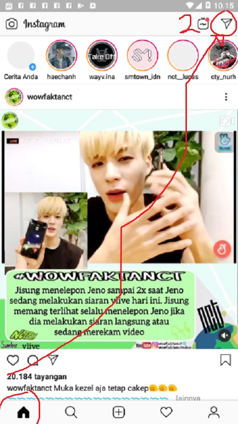 Klik Menu Chat di Instagram