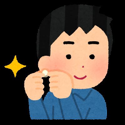 耳飾りを付ける人のイラスト(男性)