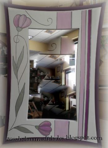 Rosabel manualidades espejos decorados for Marcos para espejos grandes