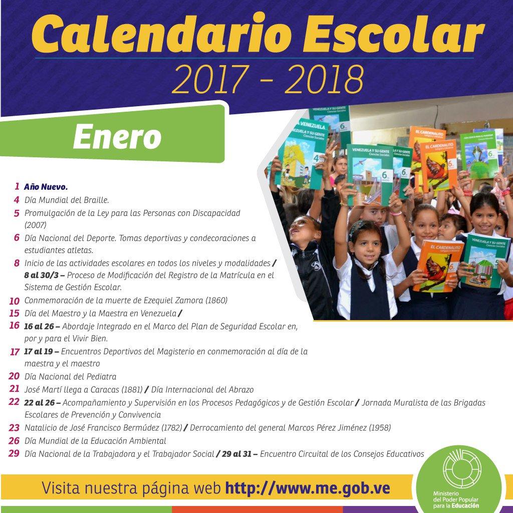 Calendario Escolar Mes de Enero 2017 - 2018