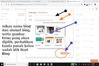 Isikan Nama/judul blog, alamat blog serta gambar tema blog,  lalu pilih buat blog