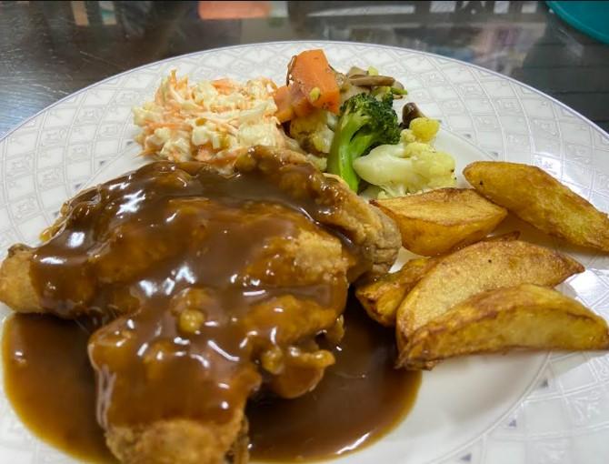 masakan western, chicken chop buat sendiri, masakan senang dan sedap, chicken chop sedap