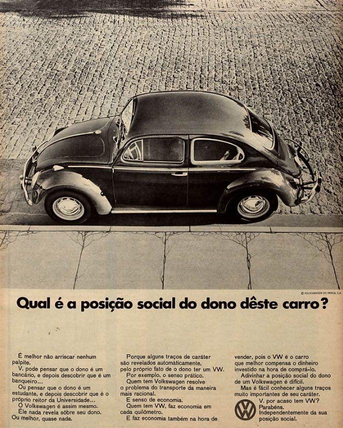 Propaganda antiga do Fusca em 1967 apresentando as vantagens do automóvel