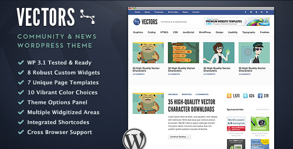 Vectors - Community Wordpress Theme Free Download by ThemeForest.