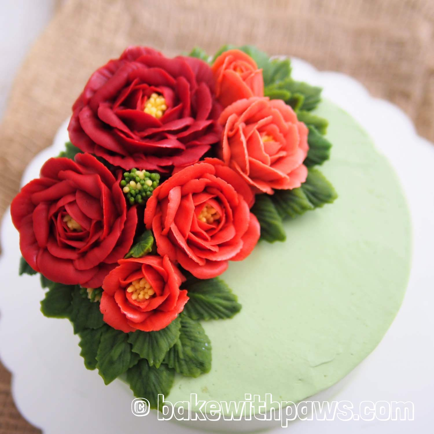 Korean Style Buttercream Flowers Cake 31 Bake With Paws