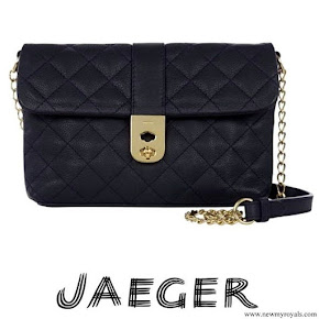 Kate Middleton carried Jaeger Kate Navy Quilted Leather Shoulder Bag