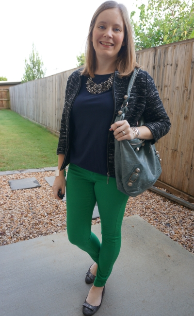 basic navy tee with bright green skinny jeans outfit boucle blazer and Balenciaga day bag | awayfromblue
