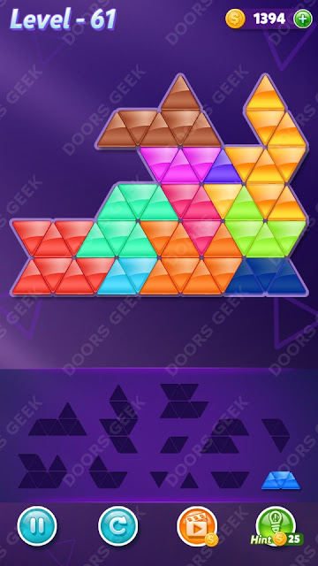 Block! Triangle Puzzle 12 Mania Level 61 Solution, Cheats, Walkthrough for Android, iPhone, iPad and iPod