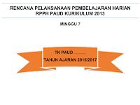 Contoh  RPPH Minggu 7 Semester 1 Kurikulum 2013 Gratis
