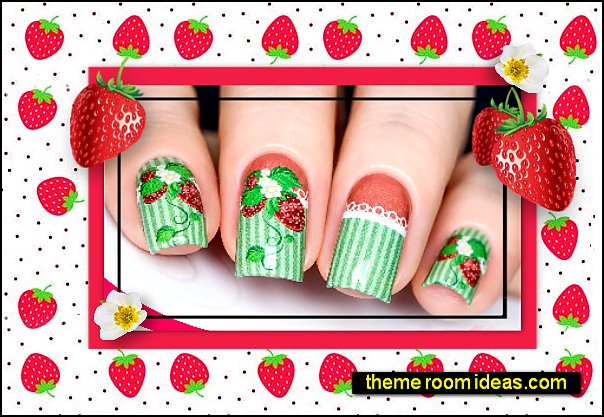 Strawberry Water Decals Nail Art Design strawberry nails strawberries strawberry nail ideas