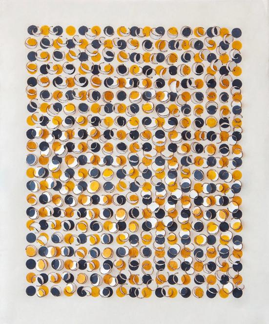 Zaida Oenema Soft Ground/Hard Edge (yellow #2), 2020 Cogon grass, colour pencil 50 x 42 cm
