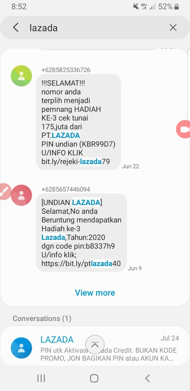 contoh SMS penipuan atas nama Lazada
