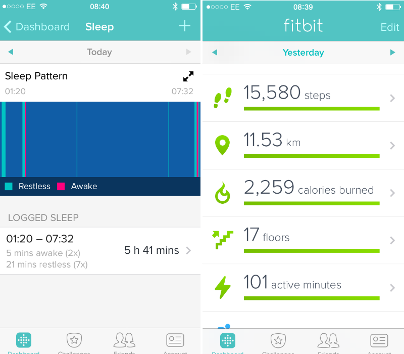 Fitbit Charge Control panel sleep and calories