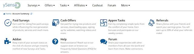 Panel de ySense con las formas para ganar dinero