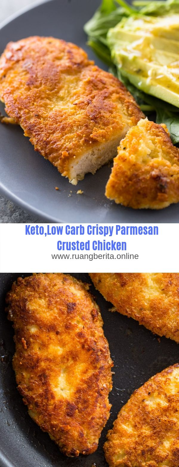 Keto.Low Carb Crispy Parmesan Crusted Chicken