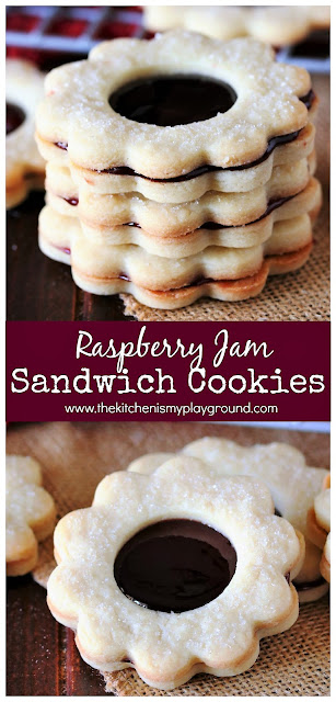 Raspberry Jam Sandwich Cookies ~ Two perfectly delicious homemade butter cookies joined together by gooey raspberry jam filling.  It's a little bit of pure cookie awesomeness!  www.thekitchenismyplayground.com