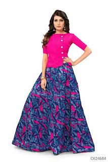Partywea Banglori Satin Printed Lehenga
