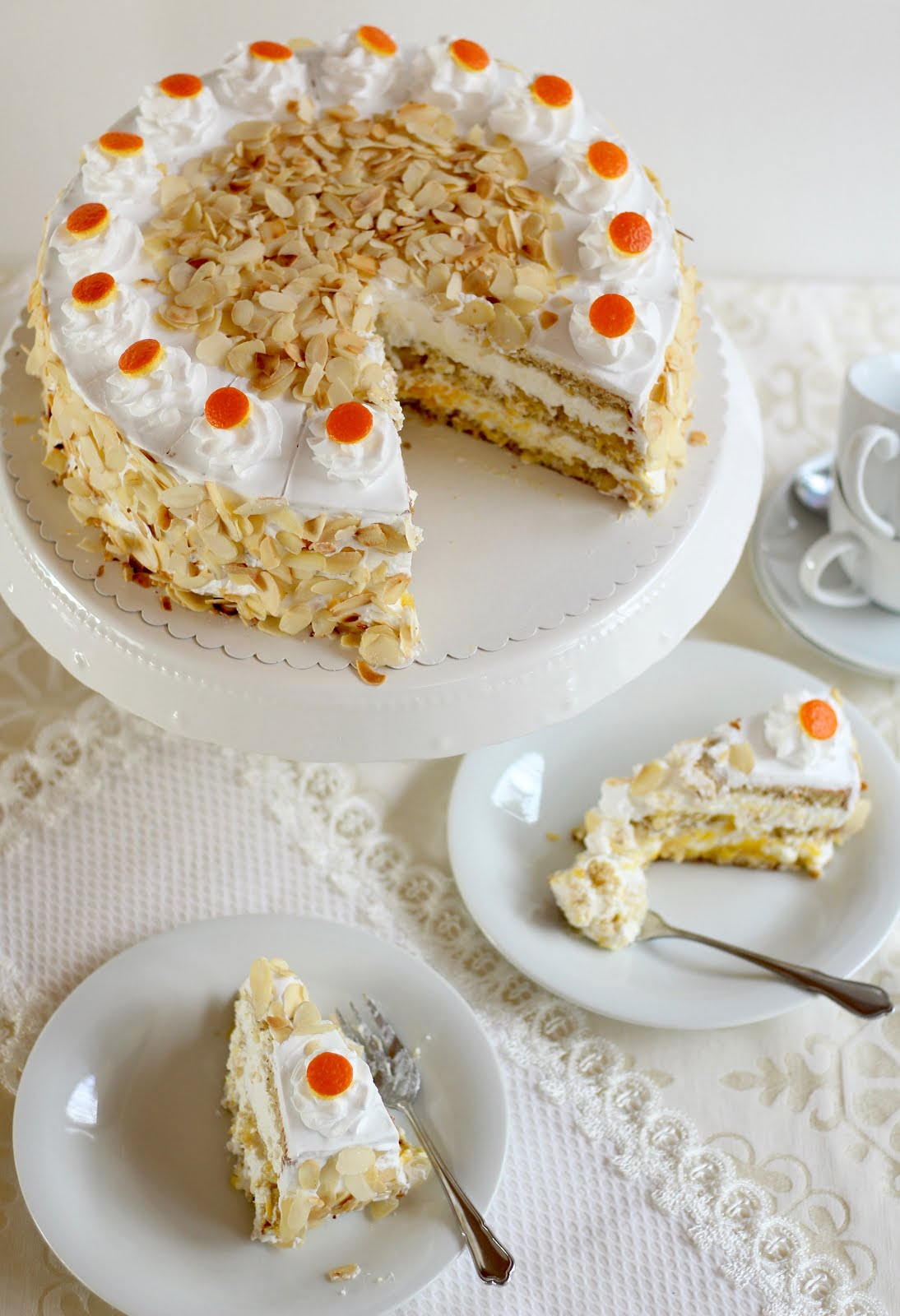 Saftige Orangen-Mandelbiskuit-Torte - Winterzauber-Torte - Rezept und Video
