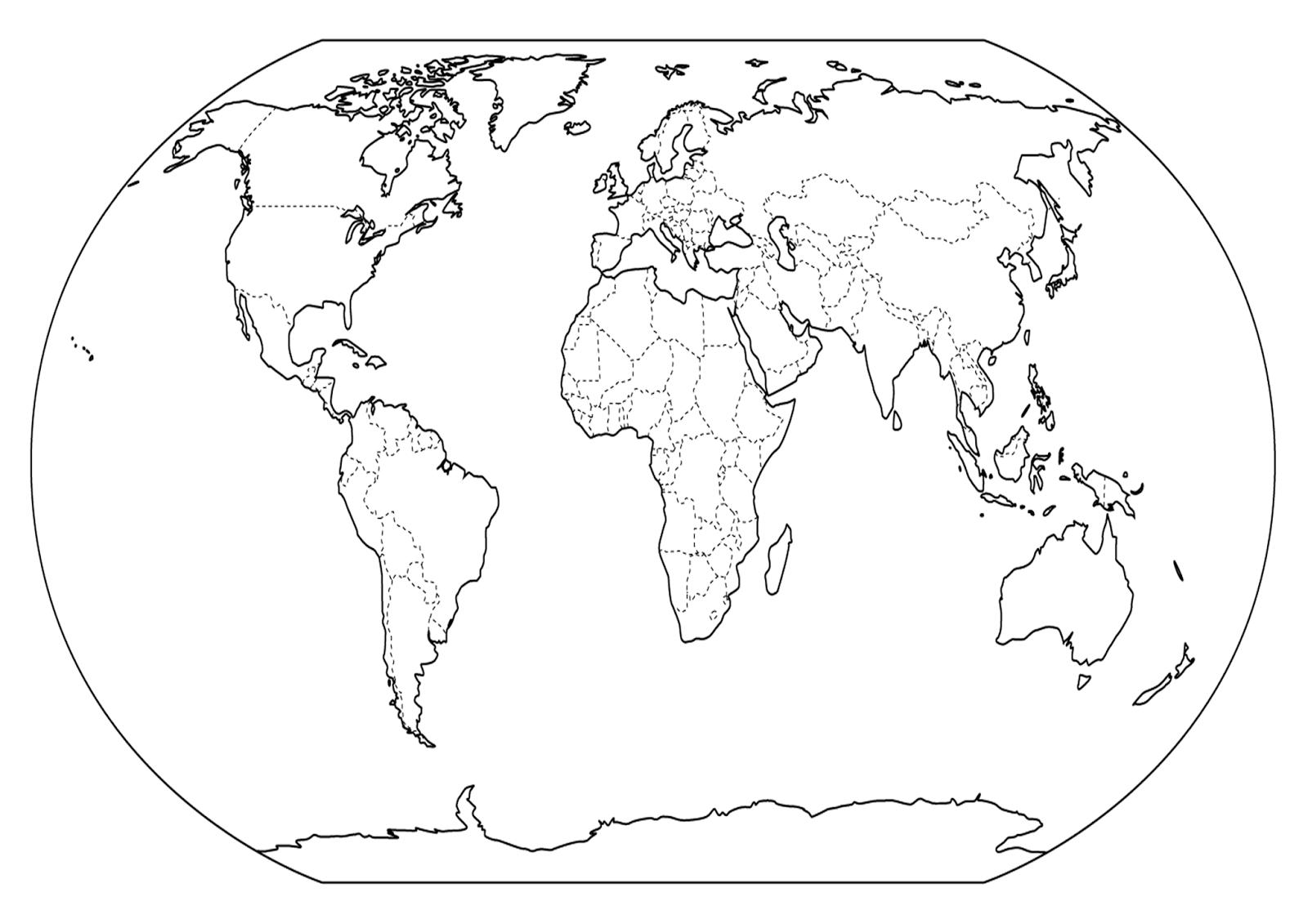 En Y Mundo Mapa De Dibujo Negro Del Blanco