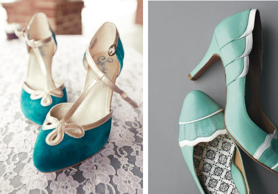 Scarpe da sposa blu e vintage