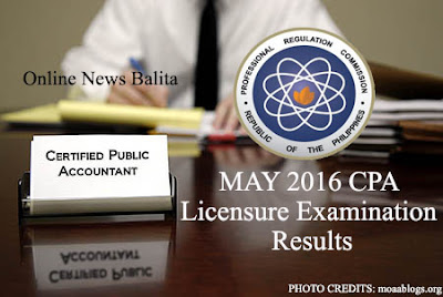 LIST OF PASSERS: May 2016 Certified Public Accountant (CPA) Licensure Examination Results