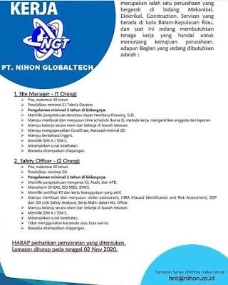 Kerjabatam.com PENGUMUMAN RESMI LOKER PT. Nihon Globaltech