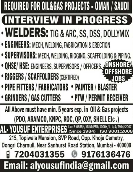 Onshore & Offshore Oil and Gas Project Job Vacancies in Oman & Saudi - Al-Yousuf Enterprises