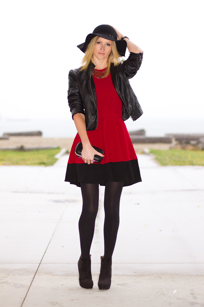 Vancouver Fashion Blogger, Alison Hutchinson, wearing Sugarlips Signed by Scarlet red and black dress, Zara wide-brimmed black hat, Forever 21 black pleather jacket, Seduce metal collar neckace, Zara high heel black ankle boots, Colette Black Clutch