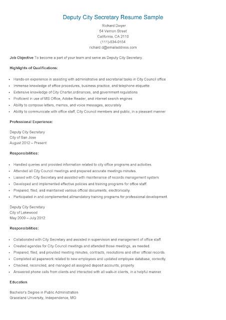 resume samples  deputy city secretary resume sample