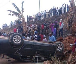 Photos: Over Speeding Car Tumbles Several times In Lagos, Heavily pregnant woman gave the ghost..TERRIBLE!