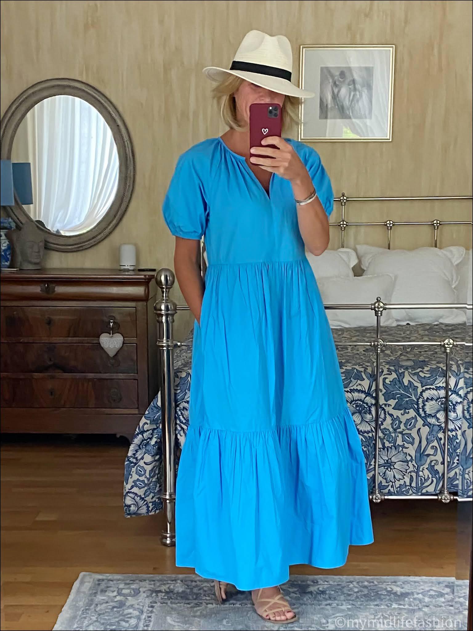 my midlife fashion, Zara Panama hat, Ancient Greek leather wrap around sandals, Great Plains crisp cotton tiered dress