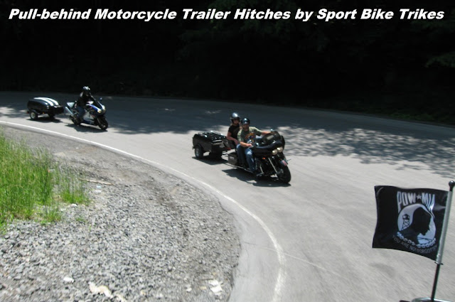 SBT pull-behind motorcycle trailer hitches