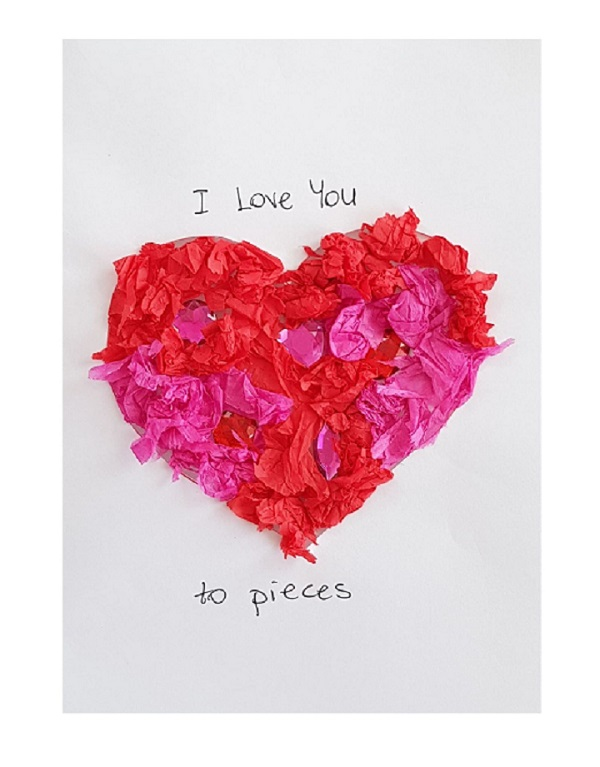 I love you to pieces valentines card kids can make