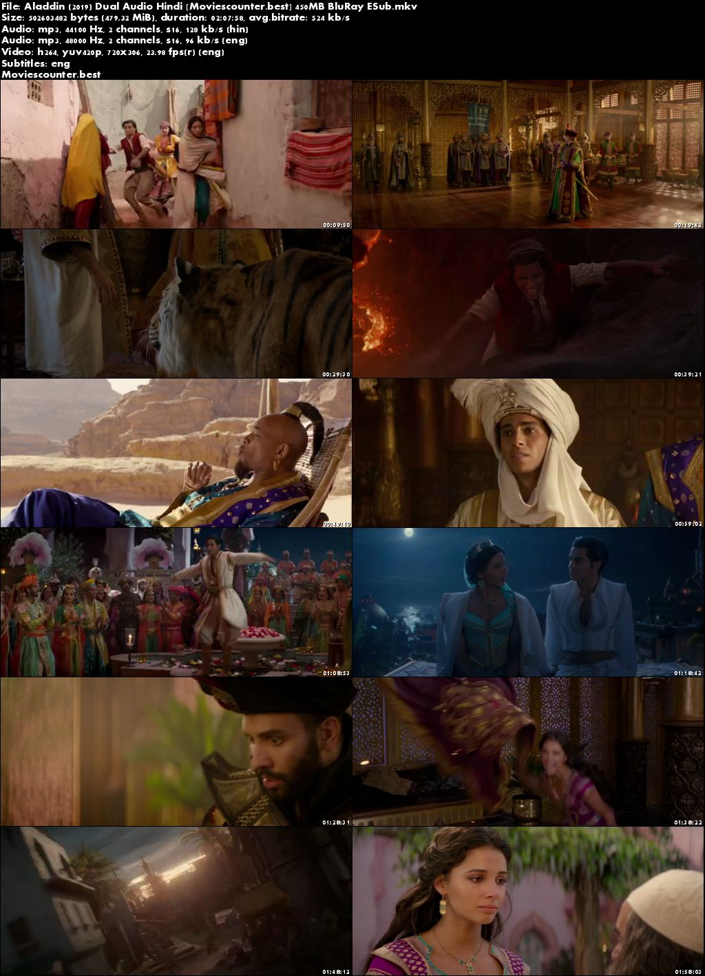 Screen Shots Aladdin 2019 Dual Audio HD 300Mb