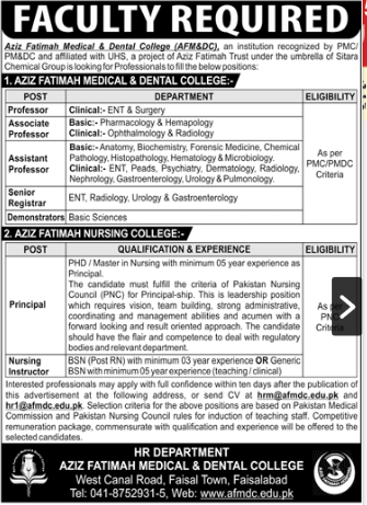 Jobs in Aziz Fatimah Medical and Dental College 2020