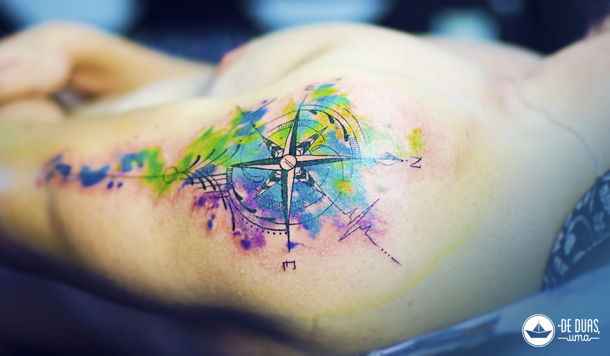 compass rose watercolor tattoo deduasuma
