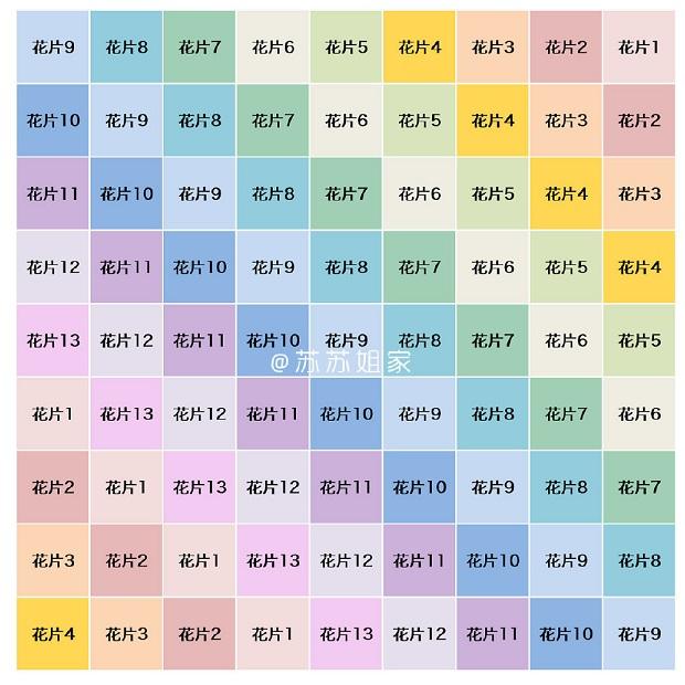 Таблица сборки связанных мотивов по цвету