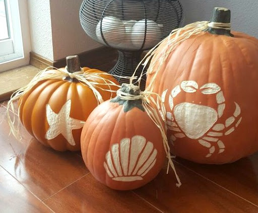 Artificial Pumpkins Carved with Dremel Tool
