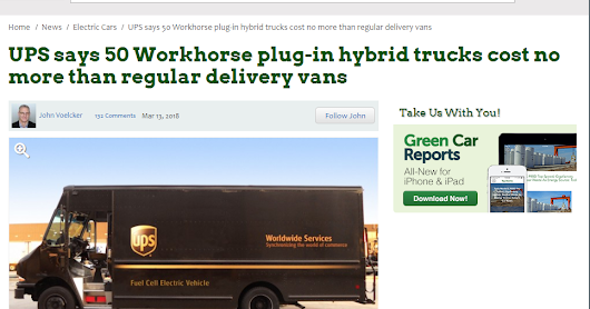 UPS says 50 Workhorse plug-in hybrid trucks cost no more than regular delivery vans