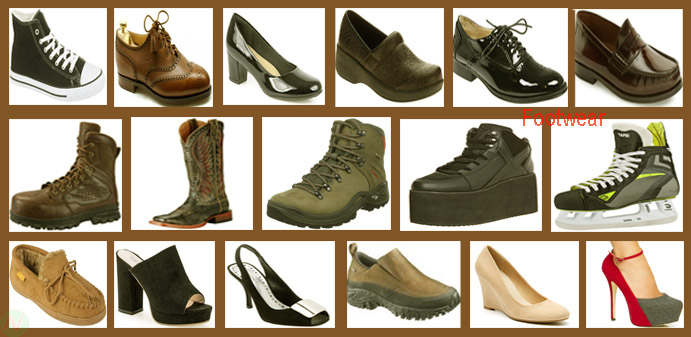 shoes footwear names with necessary vocabulary english meaning