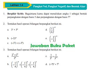 Kunci Jawaban Buku Paket MATEMATIKA Latihan 1.4 Pangkat Nol, Pangkat Negatif, dan Bentuk Akar Halaman 46 47 48 49 Kelas 9 Kurikulum 2013 www.jawabanbukupaket.com