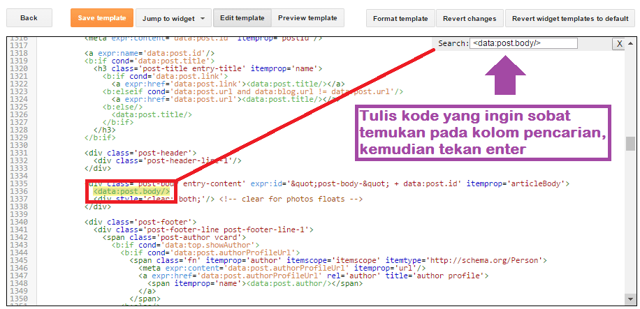 Cara Cepat + Mudah Mencari Kode Template Di Blogger