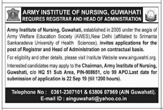 Army Institute of Nursing Guwahati Recruitment 2019: Registrar and Head of Administration