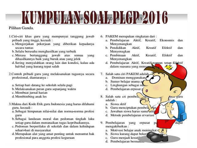 Kumpulan Soal-Soal Persiapan PLPG 2016